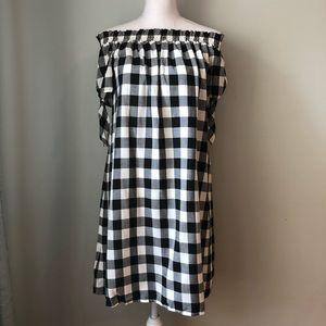 Ann Taylor LOFT Gingham off shoulder dress large